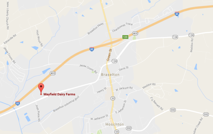 You can find the Mayfield Dairy Farm Braselton location at 1160 Broadway Ave, Braselton, GA, 30517.