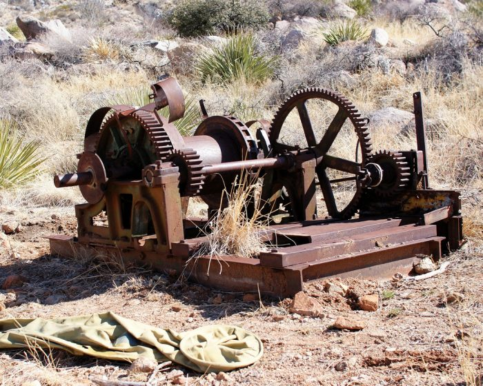 7. Old mining equipment like this litters the area around the Ruby Mine.