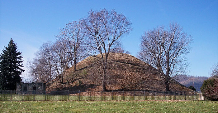 It's similar to the larger Grave Creek Mound that is in Moundsville, WV.