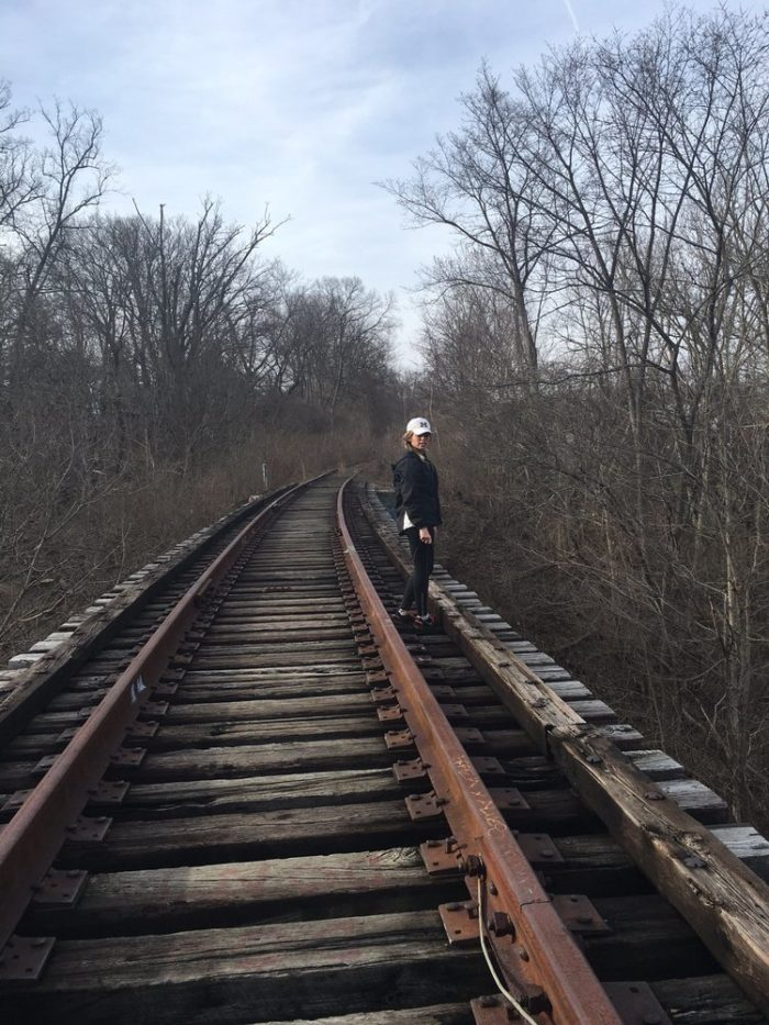 The abandoned railroad bridge once carried trains running between Cincinnati and Portsmouth. This was a route that was first established in 1878.