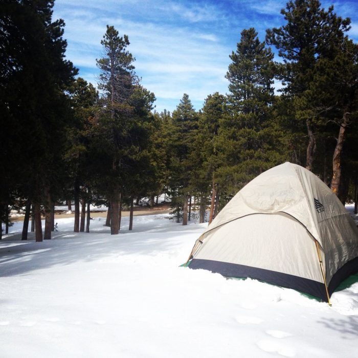 Golden Gate Canyon State Park is open to the public year round, and in addition to camping, you'll find adventurers cross-country skiing, snowshoeing, sledding, ice fishing and ice skating.