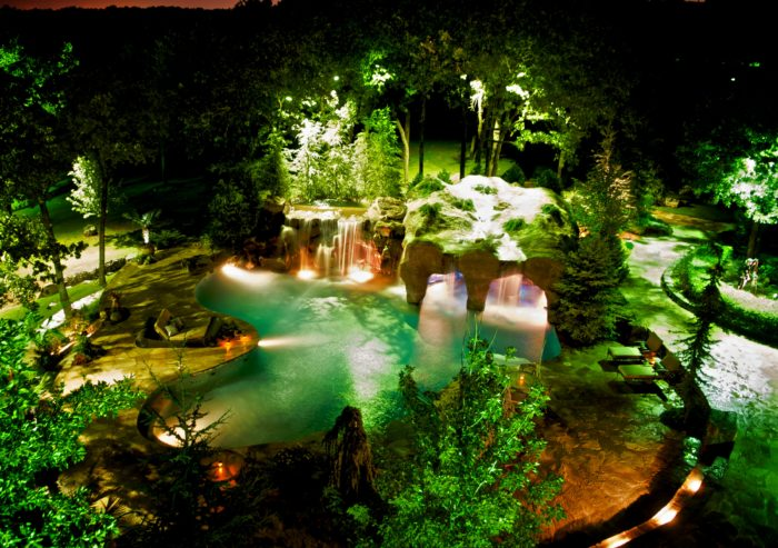 Philips Color Kinetics lighting connects all the outdoor spaces at night with spectacular custom light shows.