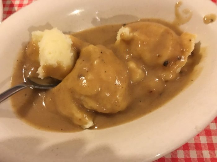...fluffly mashed potatoes with creamy gravy...