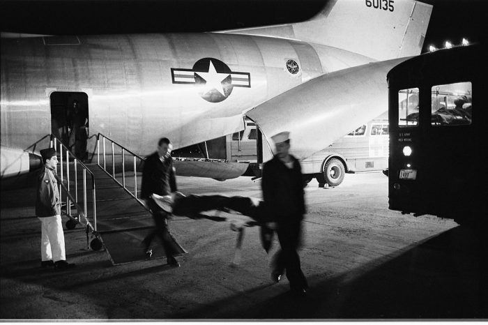6. An injured soldier arrives from Vietnam to the Andrews Air Force Base in 1968.
