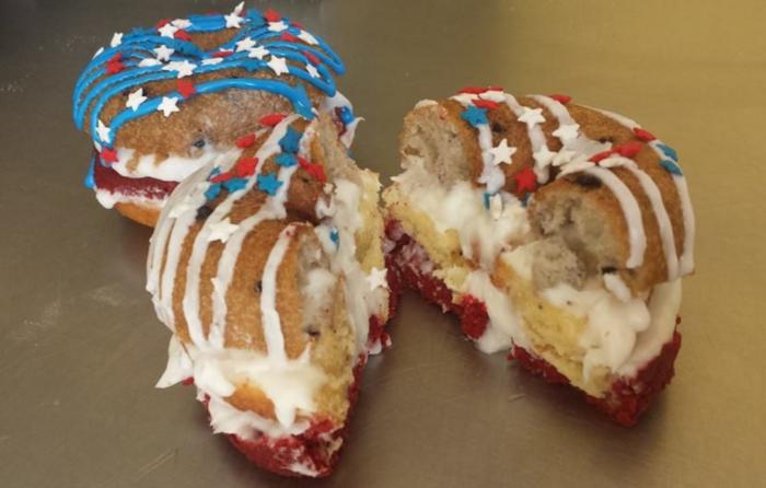 Red, White & Blueberry Layered Cake Donut