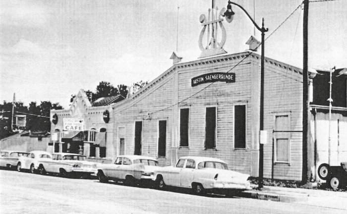 In 1908, a German singing club, the Austin Saengerrunde, purchased the restaurant and built an adjacent bowling alley that's still in operation.