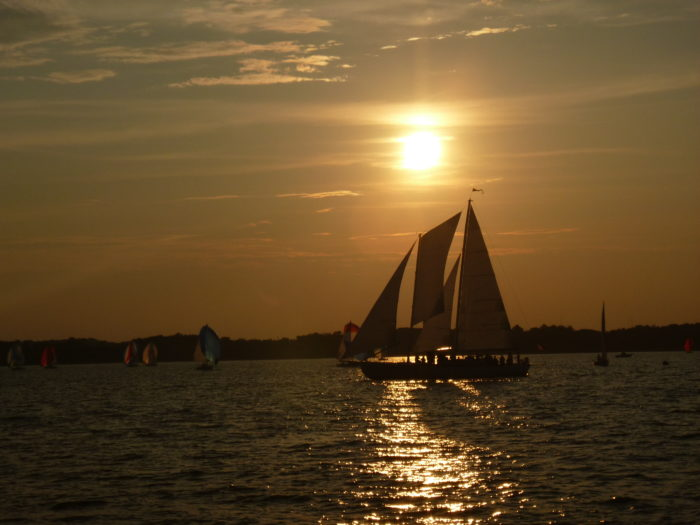 The boat & breakfast package includes a two hour sunset sail...