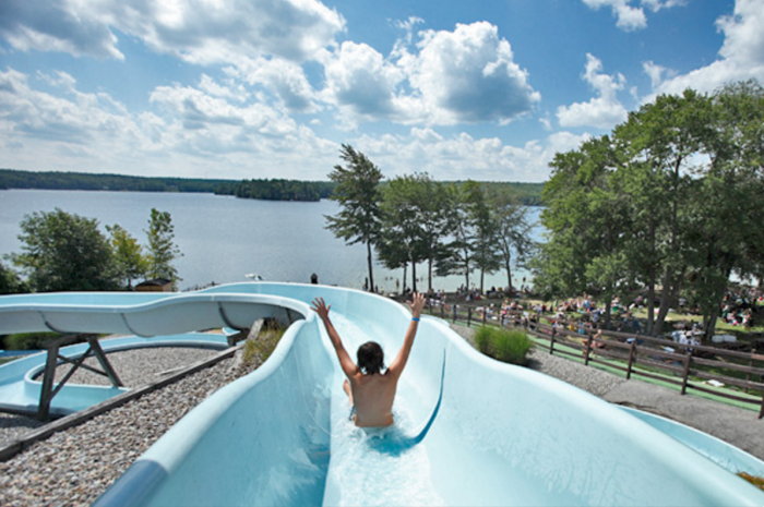 Located on the shore of the sparkling Whitins Reservoir, this park offers three 300-foot waterslides.