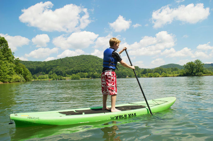 Stand-up paddleboards are available for rent.