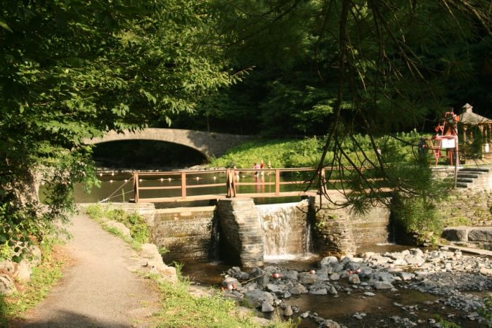 At the beginning of the park you'll see the park's swimming hole, if the water is high enough!