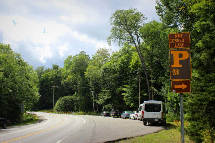 Inside of the Adirondack Park, you'll find parking areas on the side of NY State Route 29A for Nine Corner Lake.
