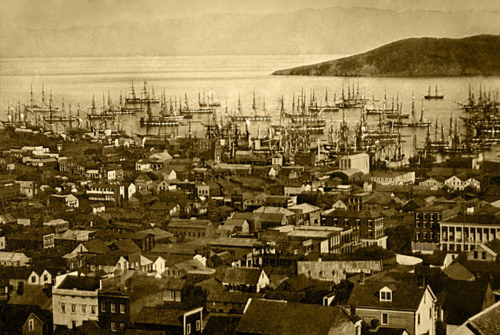 Already by the summer of 1850, over 500 vessels were anchored in Yerba Buena Cove, an area that today runs from the intersection of Battery and Broadway to the start of the Bay Bridge.