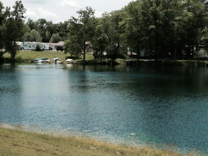 The campground features a beautiful quarry, a swimming pool, two parks, two pavilions, a pond and various other scheduled activities.