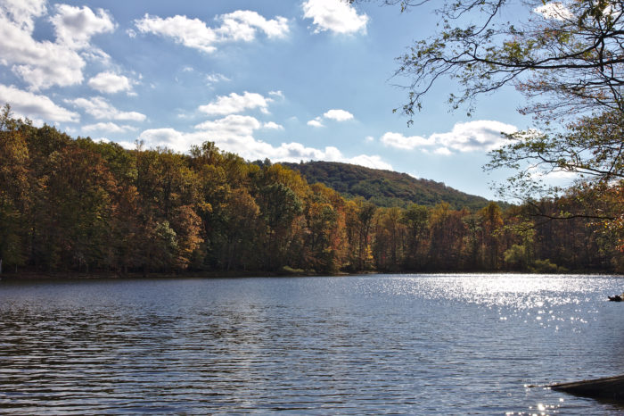 Hunting Creek Lake is gorgeous year-round, especially during autumn, as crisp air turns the trees to brilliant hues of copper.