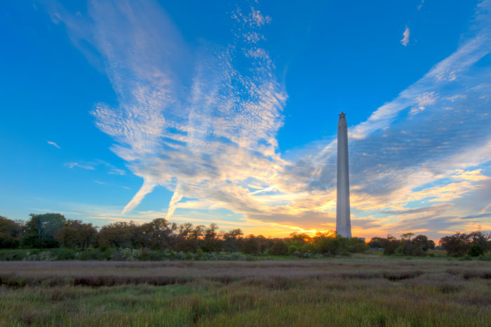 The site includes the famous San Jacinto Monument, which houses a museum in its base, and the USS Texas ship.