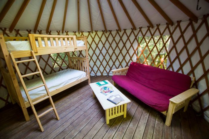 8. Sleep in a yurt in Milan Hill State Park in Milan.