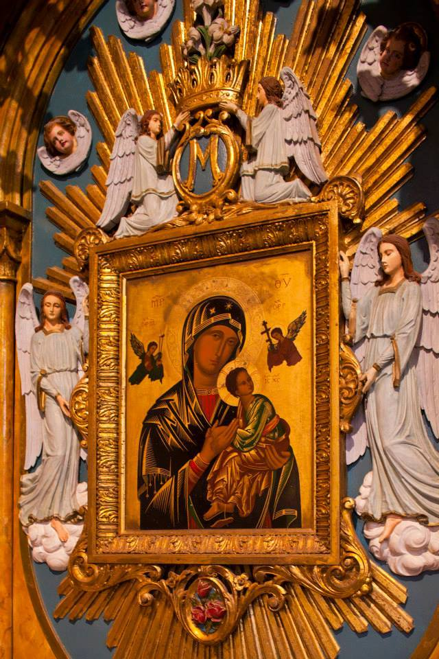 There are a variety of other iconic pieces of spiritual art, like this depiction of our mother of perpetual help.