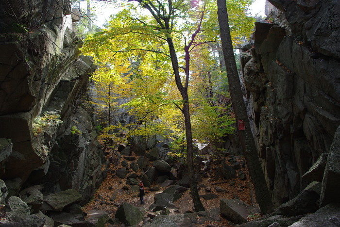 Some of the granite boulders have otherworldy names, such as Fat Man's Misery, Corn Crib, and the Devil's Coffin.