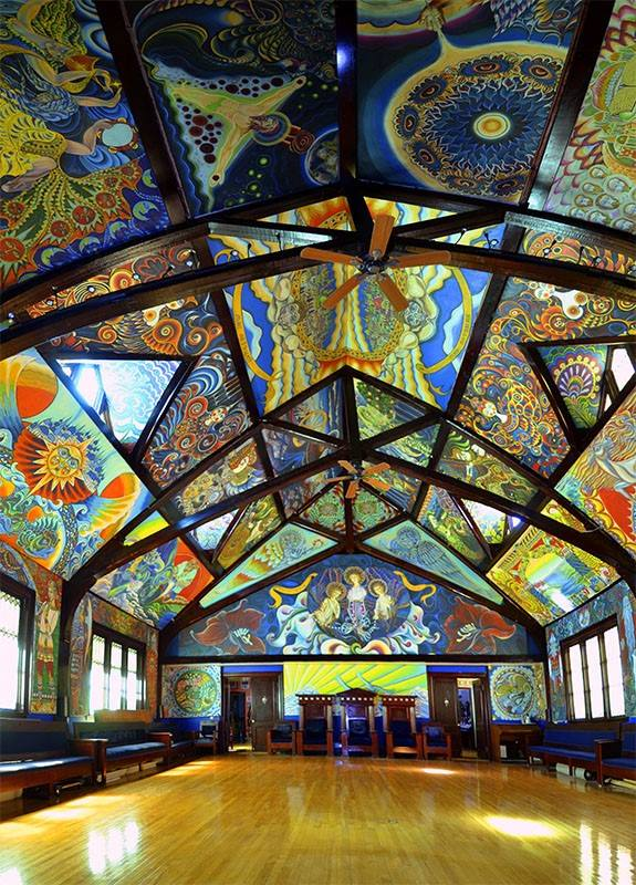 The jewel of the home is the immense Great Hall. The walls are completely covered in fresco-like paintings of icons from Russian mythology and religion.