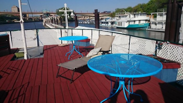 You can also sprawl out on the deck and enjoy the sun and 360-degree river views. After all, why just look from shore when you can kick back on the water?