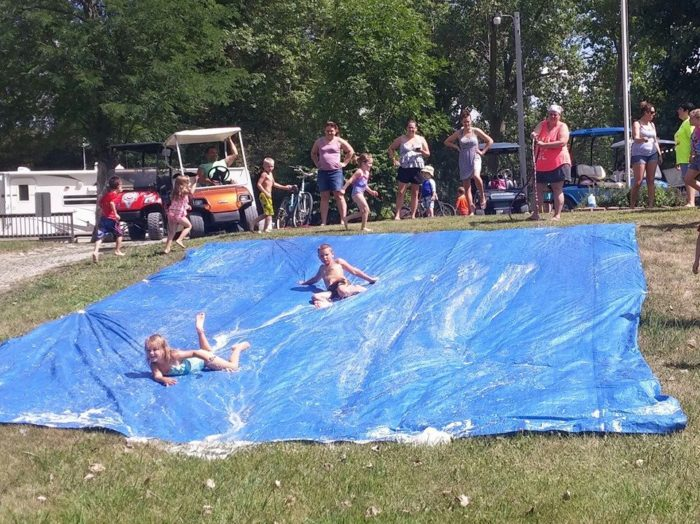 Other activities and amenities are featured at various times and seasons, such as slip n' sliding...