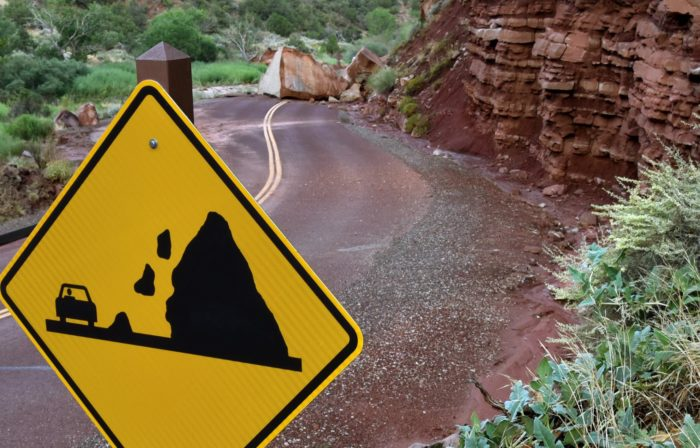 It's a good thing the park has posted this Falling Rocks sign!