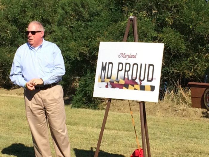 """Maryland's Governor Larry Hogan """"proudly"""" unveiled the new """"MD PROUD"""" plate Thursday during a press conference."""