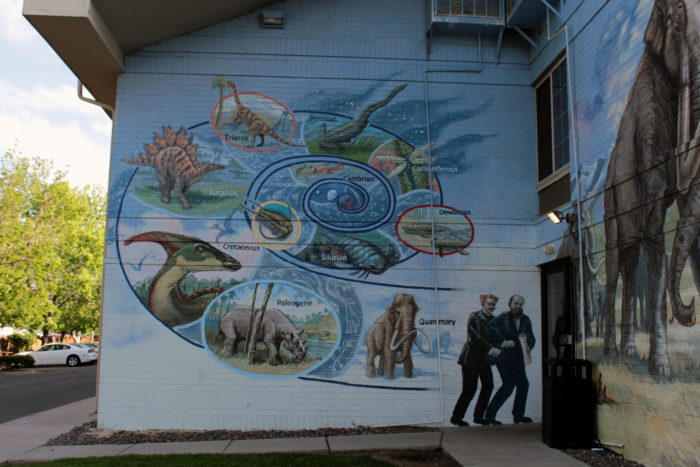 The owners commissioned exterior artwork by master muralist Tom Ward, who worked alongside the Morrison Natural History Museum's curator Matthew Mossbrucker, to create an impressively accurate geologic time mural and representation of the ancient plants and animals of Colorado.