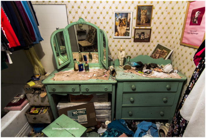 It's easy to imagine someone sitting at this vanity and getting ready for their day.