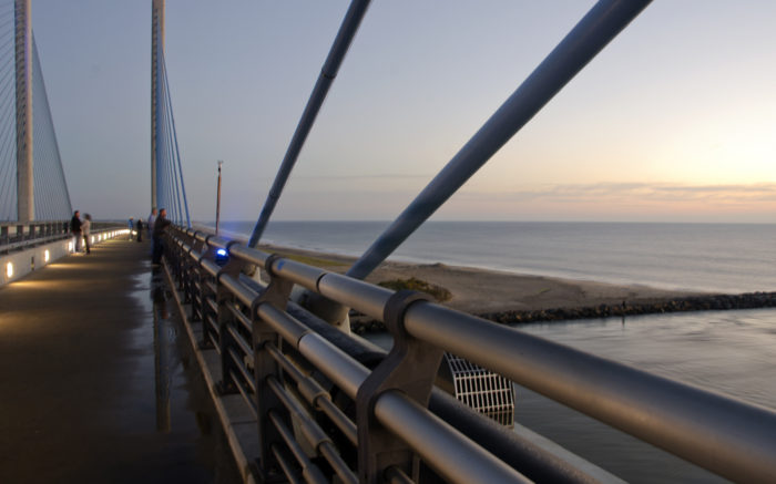 Now, you can walk or bike across the bridge to take in beautiful views of the Indian River Inlet and Delaware Seashore State Park.
