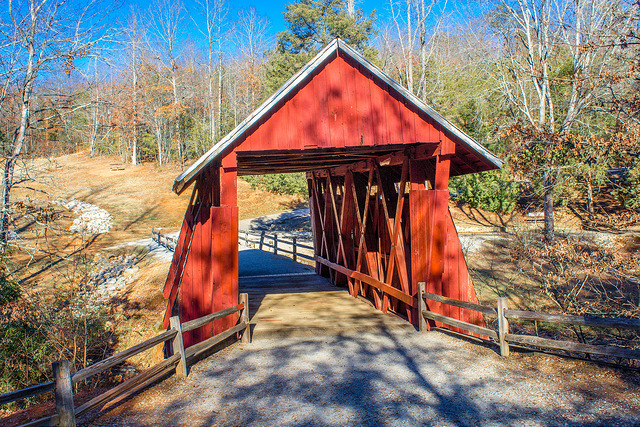 6. Walk across the only covered bridge from yesteryear that's still standing in the Palmetto State.