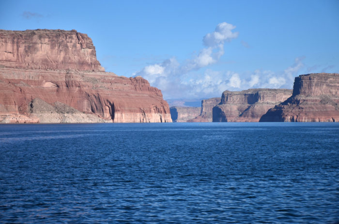 The waters of Lake Powell can look deep blue, or emerald green, depending on the location.