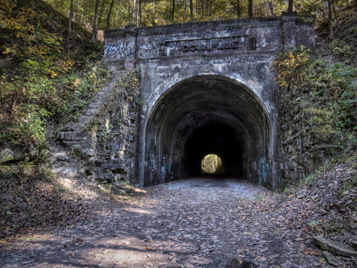 The abandoned coal mining town of Moonville near southeastern Ohio's Brown Township (in Vinton County) was founded in 1856, when the Marietta and Cincinnati railroad ran through the area's woods.