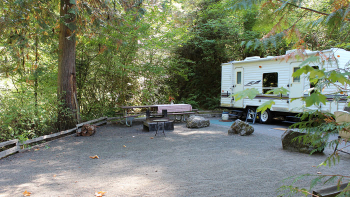 The campground offers 10 campsites for RVs and tents equipped with bathrooms, picnic tables, and water.