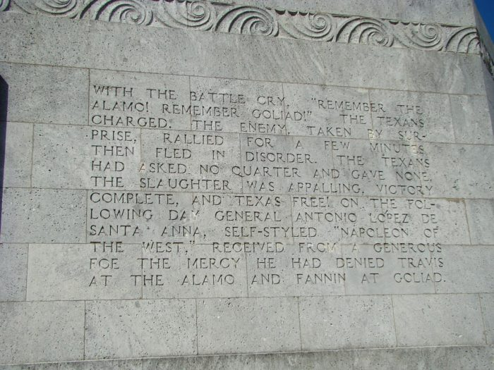 Inscribed on the Monument, you'll find a detailed account of the bloody events of the battle and the heroes who gave Texas independence and allowed us to become part of America.