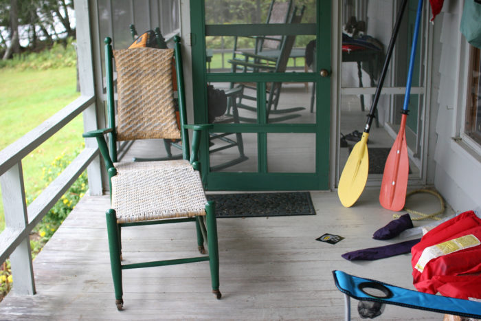 14. Raise your hand if you went upta camp and had a front porch with oars, life preservers and a nice, comfortable chair.