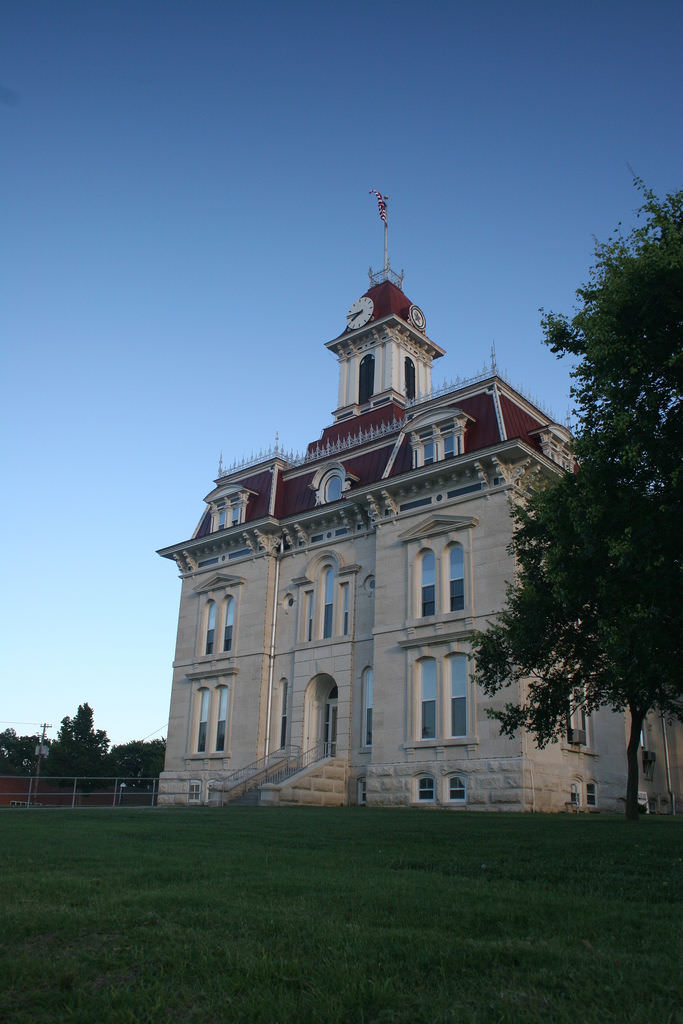 One of the most recognizable spots in Cottonwood Falls is that of the Chase County Courthouse; a French Renaissance-style building built in 1873 (the same time that the Atchison, Topeka and Santa Fe Railway reached the area).