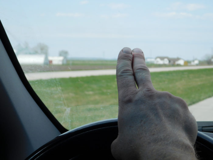 2. You've passed someone on a country road who didn't do the two-finger wave.