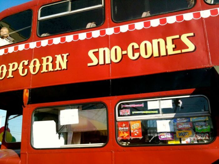 The double-decker bus concession stand is adorable, of course...