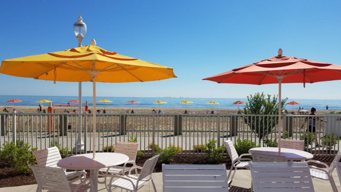 ...or you must be a guest at Hotel Breakers (pictured), Sandcastle Suites, Lighthouse Point Resort or the Cedar Point Marina.
