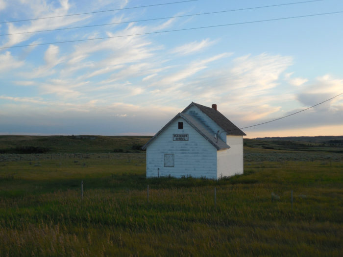 6. Lonely schoolhouse on the prairies in McKenzie County, left to rot.