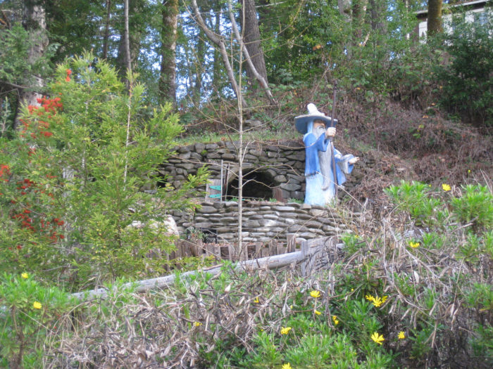 Some of the sculptures are still visible, including Gandalf at the door of Bilbo Baggins' hobbit hole.