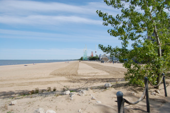 This beautiful beach along the shores of Lake Erie is like a little oasis away from the hustle and bustle of the amusement park.