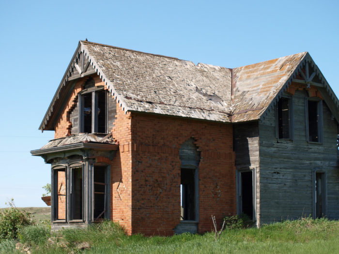 7. What once was a beautiful home located in Sims, North Dakota, now a ghost town, is slowly deteriorating as time goes on.