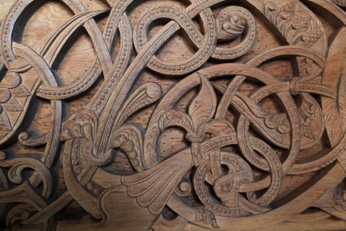 The intricate woodcarvings in the Chapel in the Hills are part of a very old Viking tradition.