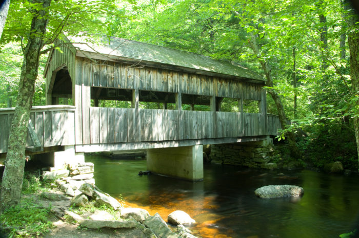 And don't miss your chance to cross one of the few covered footbridges in the state as you follow the river. From the waterfall, the water runs to the hemlock-canopied picnic area, which makes for a pretty tranquil dining experience.