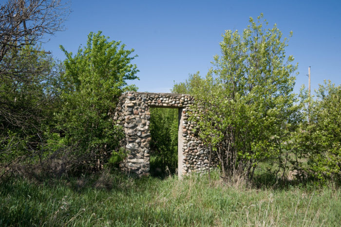 6. This stone arch is all that remains of some ruins of a building in a town once known as Tagus, North Dakota.
