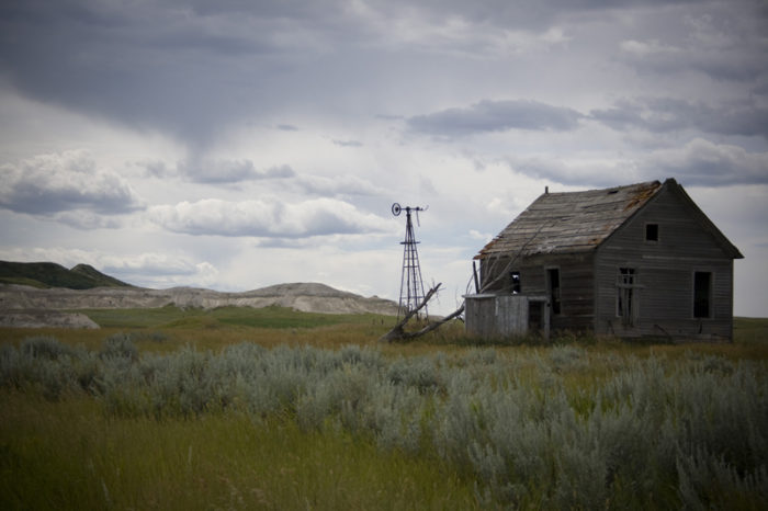 2. Long since forgotten farm right by White Butte, which you can see part of in the background.