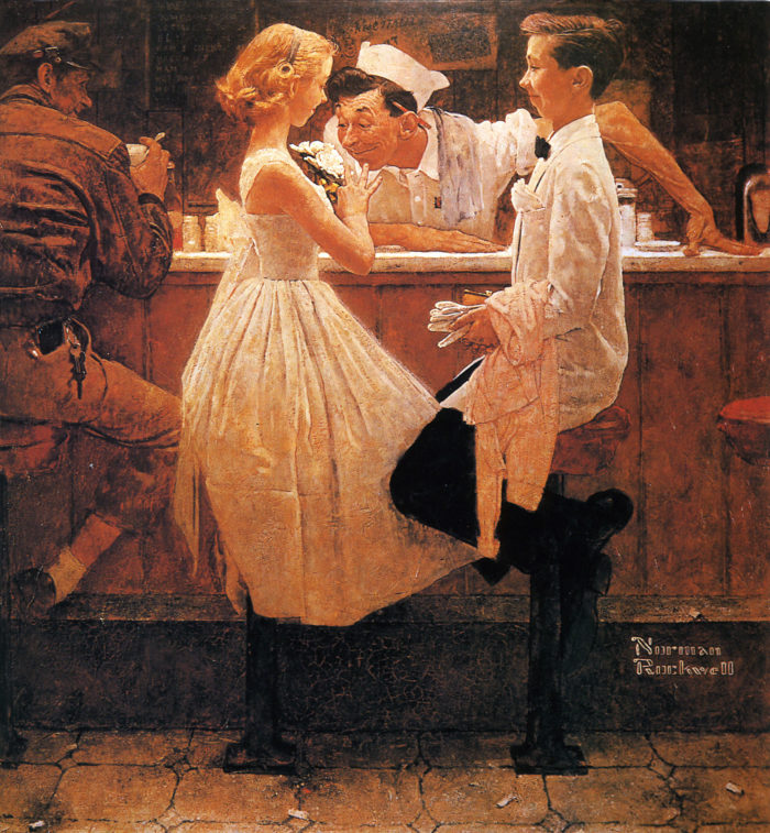"""Rockwell frequently used Stockbridge residents in his art, such as local policeman William Obanhein in """"Policeman with Boys"""" and """"After the Prom."""""""