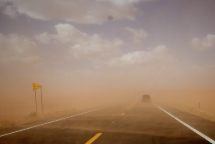 8. You have met a wall of dust while driving.